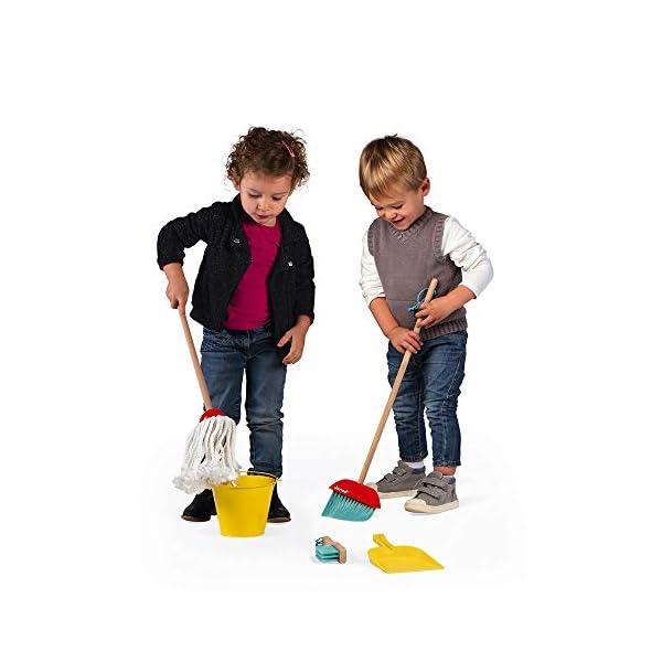 Janod- Cleaning Set Juego de 5 Piezas de Madera para el hogar - Juguete de imitación - A Partir de 3 años (JURATOYS…