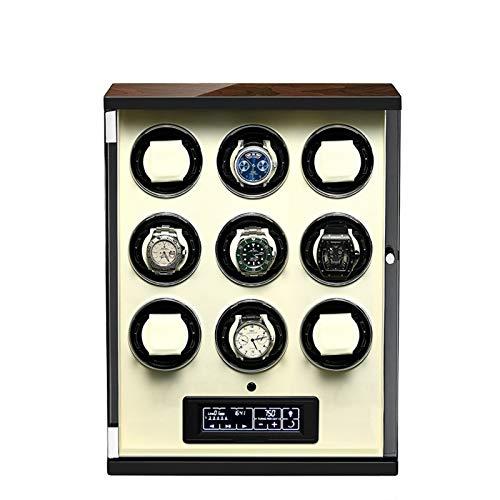 ZCXBHD Caja Giratoria para Relojes Automatico 9 Watch Winder Pantalla LCD Táctil Digital Iluminación LED con Mando A Distancia 5 Modos de Rotación Mecánicos Caja Bobinadora (Color : Beige)