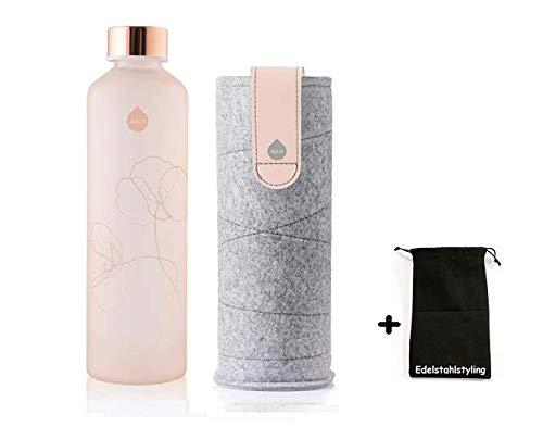 Equa Mismatch Bloom Glasflasche Trinkflasche Borosilikat Glas + Stoffbeutel (750 ml, Filzhülle PINK Breeze - Schlaufe)