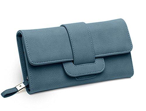 DNFC Geldbörse Damen Portemonnaie Lang Portmonee Elegant Clutch Handtasche Groß Geldbeutel PU Leder Geldtasche mit Reißverschluss und Druckknopf für Frauen (Blau)