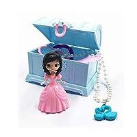 オルゴール 女の子ジュエリーミュージックボックスセットミュージカルジュエリーボックス玩具ジュエリー、グリッターブレスレットと姫設計のための孫娘 クリエイティブオルゴール (Color : 7 piece set blue)