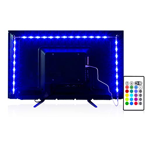 PANGTON VILLA Led Strip Lights, 14.3ft for 65-75in TV, USB LED TV Backlight Kit with Remote - 16 Color Changing 5050 LEDs Bias Lighting for HDTV