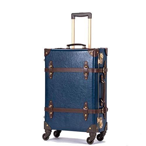 K-ONE Retro Cuero Genuino Negro Equipaje con Ruedas Spinner Mujer Trolley Maleta Ruedas 20 Pulgadas Vintage Cabin Travel Bag, Azul, 24'Tendencia de Moda