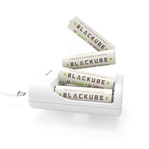 Blackube wiederaufladbare AA-Batterie Lithium 2800 mWh AA-Batterien mit USB Typ C-Aufladung- 2 Stunden Aufladung: -1,5 V, 1850 mAh - 4 Packs mit Ladegerät