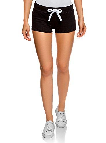 oodji Ultra Damen Jersey-Shorts Basic, Schwarz, XXS