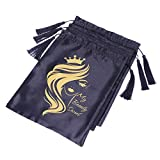 3 Pcs Satin Bags for Packaging Hair Extensions, Bundles, Wigs Soft Silk Pouches with Drawstring for Hair Tools Storage Bags with Tassel Gift and Travel Bag Supernova Hair(3 Pieces, Black)