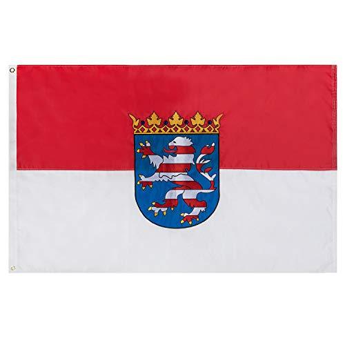 Lixure Hessen Flagge/Fahne Premium Qualität für Windige Tage 90x150cm Stickerei-Flagge Durable 210D Nylon Draußen/Drinnen Dekoration Flagge - Nicht billiger Polyester MEHRWEG