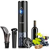 Toyuugo Electric Wine Opener, Automatic Corkscrew set contains Foil Cutter, Vacuum Stopper and Wine Aerator Pourer for Dating, Party and Wine Lover (3 Piece Gift Set)