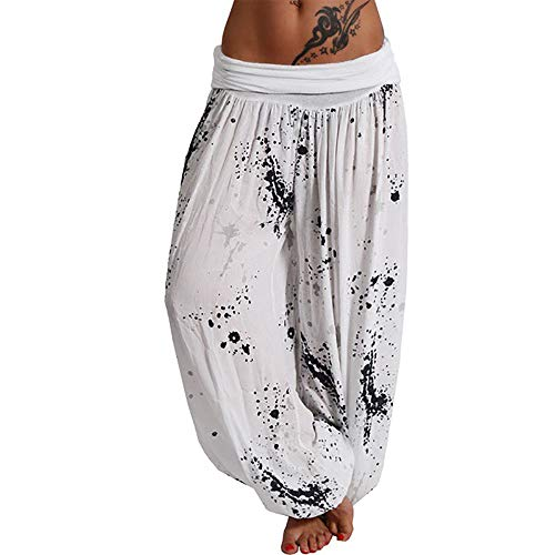 Vertvie Damen Hosen Lang Bedrucken Pumphose Haremshose Sommerhose Yogahose Aladinhose Baggy Harem Stil mit Elastischen Bund(Weiß 6, 46)