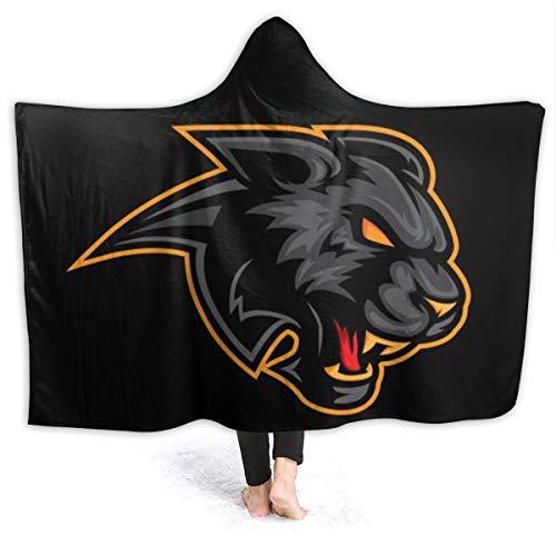 Black Panther Logo deken met hoed, eenpersoons, warme deken, hoogwaardig, elegant, multifunctioneel, zacht en dik
