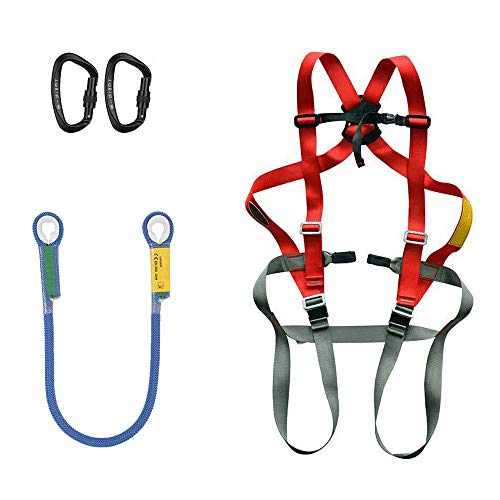 HGXC Climbing Harness Kit with Rope & Carabiners Outdoor Full Body Safety Rock Climbing Tree Rappeling Harness Seat Belt