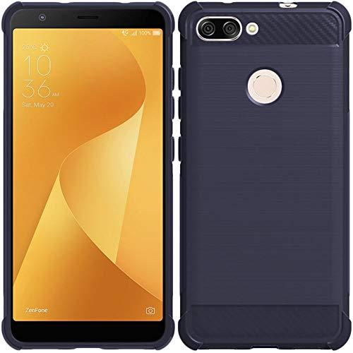 ebestStar - kompatibel mit Asus Zenfone Max Plus M1 Hülle ZB570TL Kohlenstoff Design Schutzhülle, TPU Handyhülle Flex Silikon Hülle, Dunkelblau [Phone: 152.6 x 73 x 8.8mm, 5.7'']