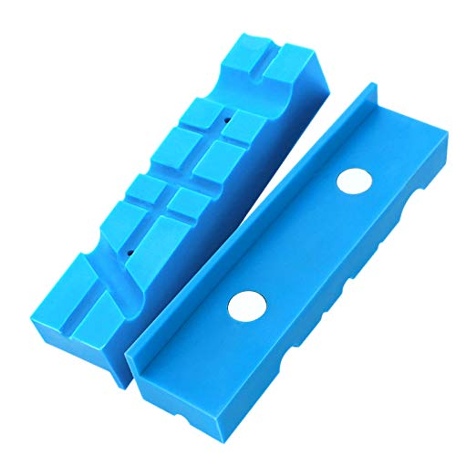Katigan 2PCS 5.5Inch Universal Vise Jaws Magnetic Retention Vise Pads Urethane Soft Jaws Magnetic Bench Vice Protectors (Blue)