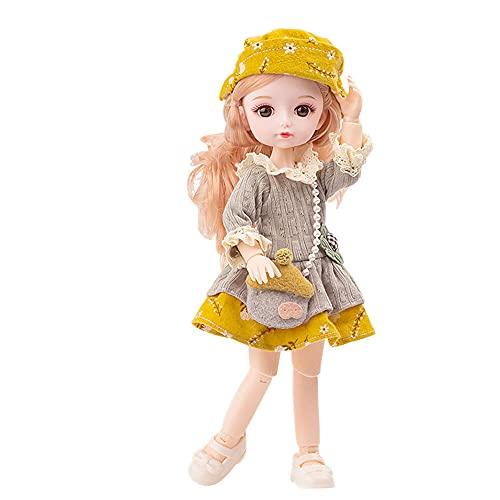 BESTWALED Moda Figuras Princesa Muñeca Niña Jugar A La Casa Muñeca Cabello Rosado Muñeca Vestirse Muñeca De Trapo Niño Recoger Figuras De Juguete Creatividad Año Nuevo Regalo L26CM,Amarillo