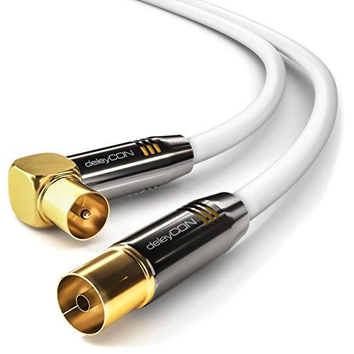 deleyCON 7,5m TV Antennenkabel Koaxialkabel - 1x TV-Stecker 90° Gewinkelt zu TV-Buchse Gerade - TV HDTV Radio DVB-T2 Full HD Metallstecker - Weiß