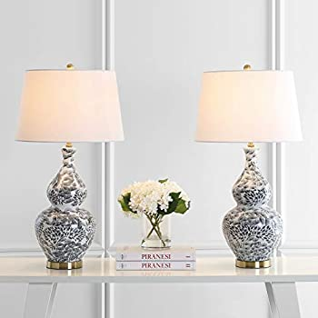 Safavieh Lighting Collection Alder Black/White 32-inch Bedroom Living Room Home Office Desk Nightstand Table Lamp  Set of 2  - LED Bulbs Included