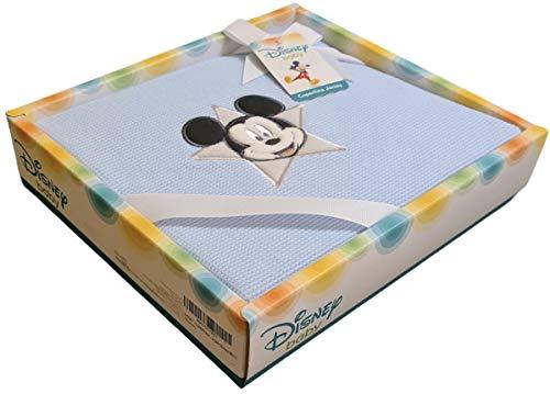 Disney - Couverture bébé 100 % coton Jersey pour berceaux, lits et lits bébés, motif Disney Baby avec broderie Minnie et Mickey - Excellente idée cadeau, licence officielle Disney (bleu)