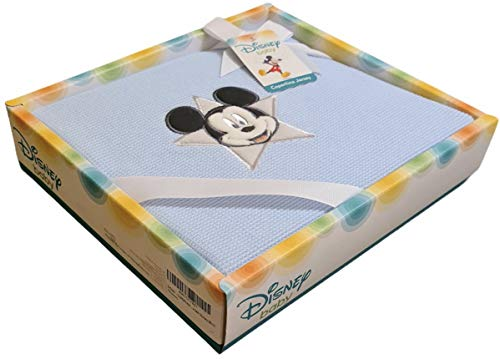 DISNEY - COPERTINA NEONATO 100% COTONE JERSEY PER CULLE CARROZZINE E LETTINI | Coperta Disney Baby con ricamo Minnie e Topolino | Ottima idea regalo, Licenza Ufficiale Disney (BLU)