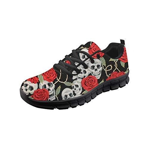 Woisttop, scarpe da ginnastica da donna, comode, per attività all'aria aperta, camminate, corsa, sport, Teschio di rosa., 37 EU