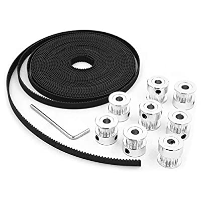 3D Printer Timing Belt Kit, 5M GT2 2mm Pitch 6mm Wide Timing Belt, 8pcs 5mm 20 Teeth GT2 Timing Belt Pulley Wheel and 1pcs Hex Wrench for 3D Printer CNC Parts