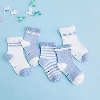 Socks 5 Pairs Cute Cartoon Socks Infant Toddler Soft Cotton Comfortable Ankle Socks, Size:L(Khaki) Outdoor & Sports (Color : New Dark Blue)