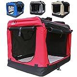 Hundetransportbox faltbar Transportbox für Hunde Hundebox Auto - Dogi Kennel - 6 Größen - 4 Farben (XL (81 x 58 x 58 cm), Rot)
