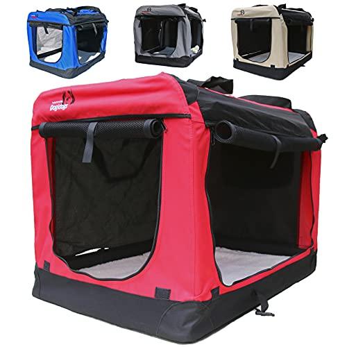Hundetransportbox faltbar Transportbox für Hunde Hundebox Auto - Dogi Kennel - 6 Größen - 4 Farben (XXL (91 x 64 x64 cm), Rot)