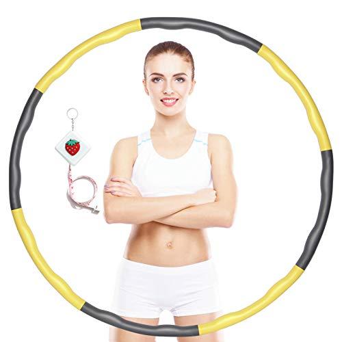 Yestars Aro de fitness con peso para pérdida de peso y masaje, 8 piezas, ajustable, para fitness, entrenamiento, deportes, en casa, adultos y niños