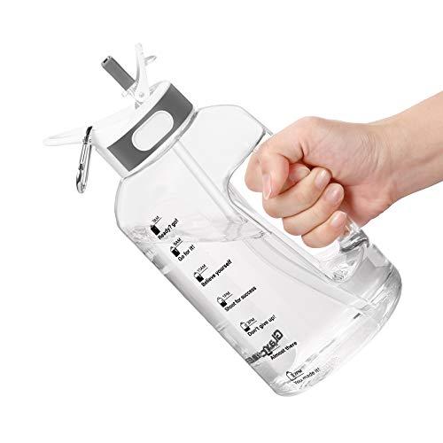 Botella de Agua Deportiva, 1.5 Litre Water Bottle con Pajita y Asa, Botella Gimnasio con Botella Agua Marcador Tiempo para Recordar la Hora de Beber sin BPA,ideal para Gimnasio, Oficina