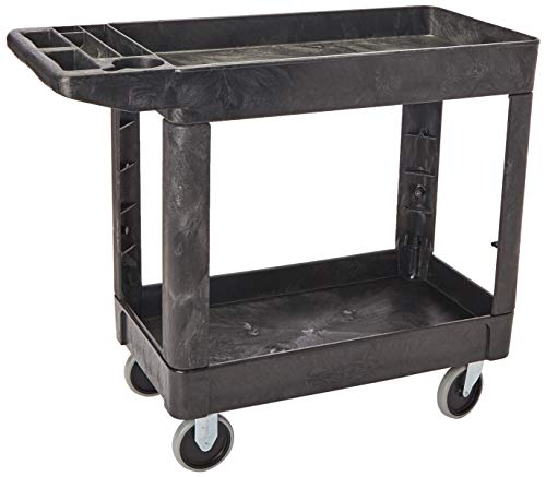 Rubbermaid Commercial Products 2-Shelf Utility/Service Cart, Small, Lipped Shelves, Ergonomic...
