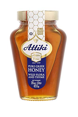Attiki Pure Greek Honey with Wild Flora and Thyme  16 oz Jar