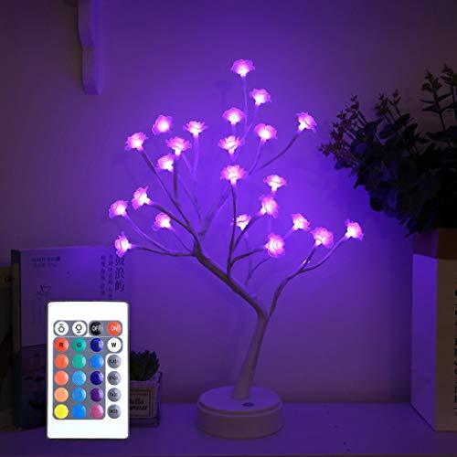 Lámpara de Mesa RGB Bonsai Tree, con Mando a Distancia, Luz de Hadas Artificial LED, Funciona con Pilas y USB, para Regalo, Hogar, Boda, Festival, Vacaciones (Color : Small rose)