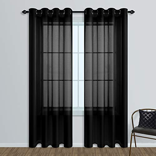 Black Sheer Curtains 84 Inches Long for Living Room Set of 2 Panels Ring Grommet Window Curtain Panels for Bedroom 52x84 Inch Length