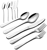 65 Pieces Silverware Set with Serving Set, Stainless Steel Modern Flatware Eating Utensils Set, Service for 12, Include Knifes/Forks/Spoons,Mirror Polished, Dishwasher Safe