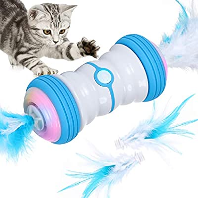 Iokheira Interactive Feather Toy for Indoor Cats,2021 Newest Two-Speed Moving Automatic Self Rotating Smart Toys,USB Rechargeable & Colorful LED Lights Toy for Kitten
