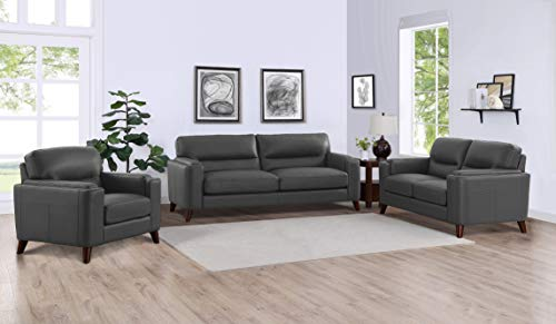 Hydeline Elm 100% Leather Sofa, Loveseat and Chair Set, Gray