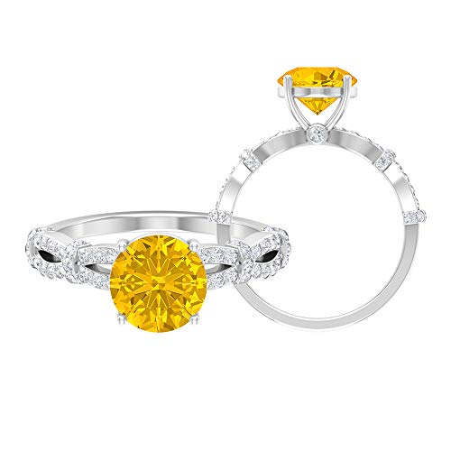 Rosec Jewels 14 quilates oro blanco redonda round-brilliant-shape H-I Yellow Diamond zafiro sintético amarillo