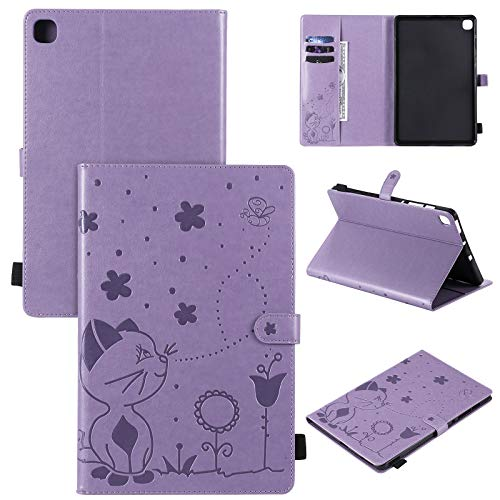 BAUBEY Case for Samsung Galaxy Tab S6 Lite 10.4' 2020 SM-P610, PU Leather Multiple Angle Stand Flip Case with Card Slot & Pencil Holder for Galaxy Tab S6 lite 10.4 inch 2020 (Purple)