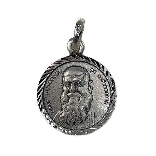 Medalla Plata Ley 925m Fray Leopoldo de Alpandeire 19mm. cerco tallado unisex