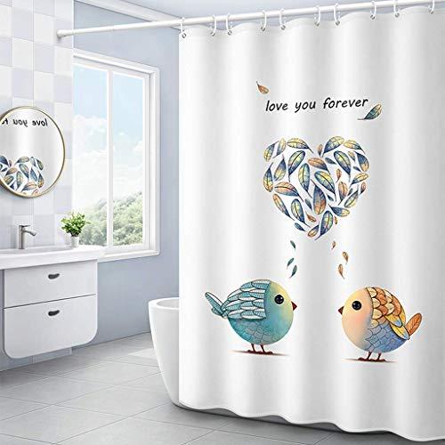 Afeo douchegordijn, raamgordijn, badkamer/badkamer/hotel, met haken, waterdicht, wasbaar in de wasmachine
