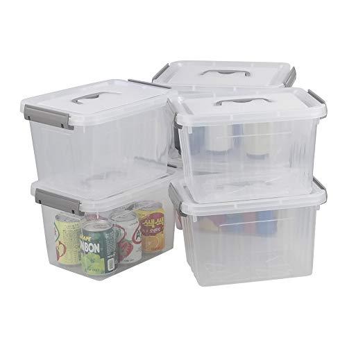 Minekkyes Kunststoffkisten mit Deckel, Satz von 6 Aufbewahrungsbox Plastik