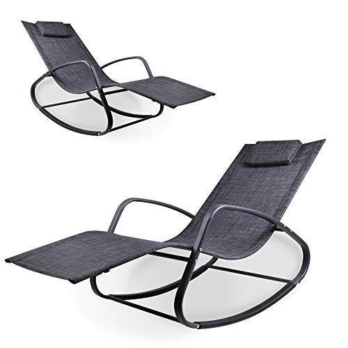 WeCooper Zero Gravity Rocking Chair, Patio Chaise for Indoor and Outdoor, Wavy Lounge Chair for Yard and Patio, Removable Headrest, Black and Grey, Twin Pack