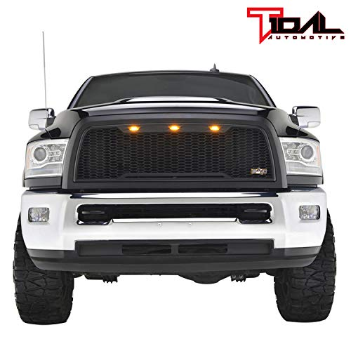 Tidal Replacement Ram ABS Upper Grille Front Hood Grill - Matte Black - With Amber LED Lights for 10-12 Dodge Ram 2500/3500 Heavy Duty