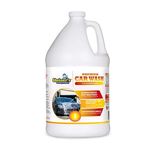 Sheiner's Premium Car Wash Soap - 1 Gallon Concentrated Formula Car Shampoo - No Towel Dry Spot Free Cleaning - pH Neutral & Non-Toxic - Compatible with Foam Gun and Sprayer Machines