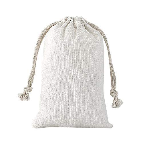 SumDirect 20 Stück Baumwolltasche Stoffbeutel Muslin Tasche mit Kordelzug, Baumwolle Säckchen Baumwollbeutel 10x15cm