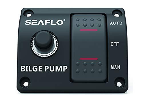 Seaflo 3-Wege-Pumpe für Bilgenpumpe, automatisch, manuell, 12 V, 24 V, mit eingebautem 15 A Leitungsschutzschalter