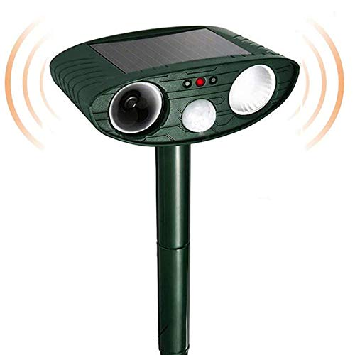 Dog Cat Repellent, Ultrasonic Animal Repellent with Motion Sensor and Flashing Lights Outdoor Solar Powered Waterproof Farm Garden Yard Repellent,...