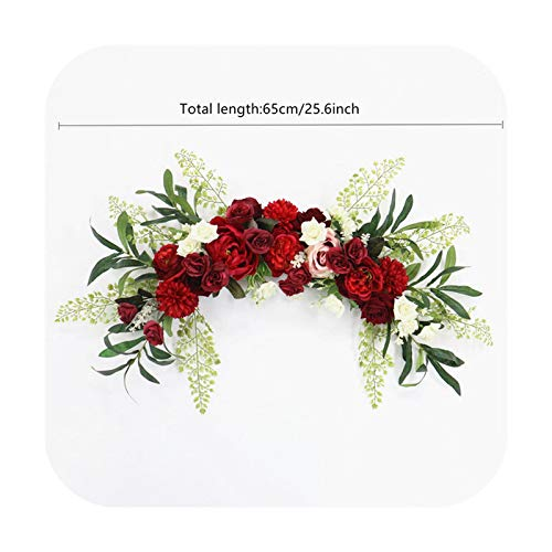 Fun-Boutique Artificial Garland, Flower Door Threshold DIY Wedding Home Living Room Party Pendant Wall Decoration Christmas Garland Gift Pink Peony Burgundy