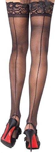 Leg Avenue Damen Halterlose Strümpfe 20 DEN Schwarz Transparent mit Spitzenborte und rückwärtiger Naht Einheitsgröße 36 bis 40