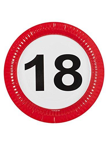 Folat Lot de 8 assiettes en carton pour 18e anniversaire - Rouge/blanc/noir - 23 cm - Taille unique